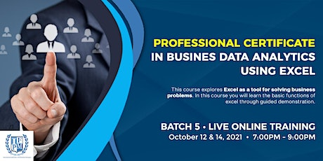 5th Professional Certificate in Business Data Analytics using Excel tickets