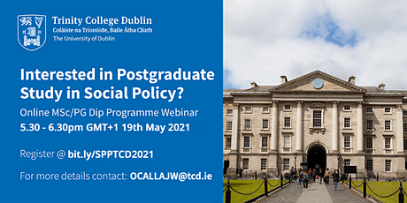 Postgraduate Dip/MSc in Social Policy and Practice - Information Webinar tickets