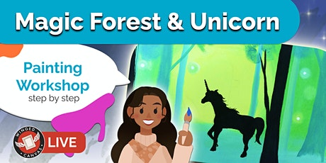 Acrylic Painting - Step by Step Lesson for Kids - (Magic Forest & Unicorn) tickets