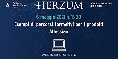 Esempi di percorsi formativi per i prodotti Atlassian: free webinar tickets