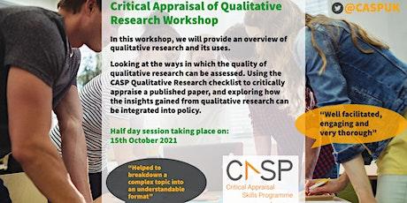 Virtual CASP Workshop - Critical Appraisal of Qualitative Research tickets