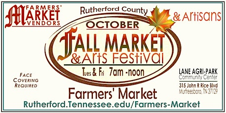 Rutherford County Farmers' Market Fall Market & Arts Festival tickets