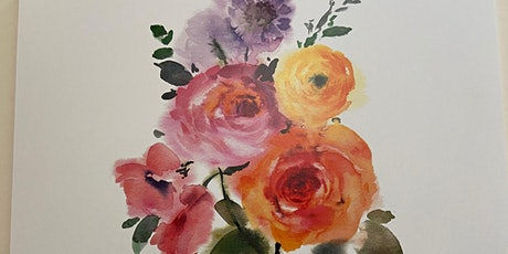 Spring roses - watercolor painting workshop tickets