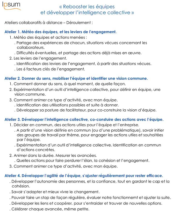 """Image pour 4 Ateliers """"Rebooster les équipes, et développer l'intelligence collective"""""""