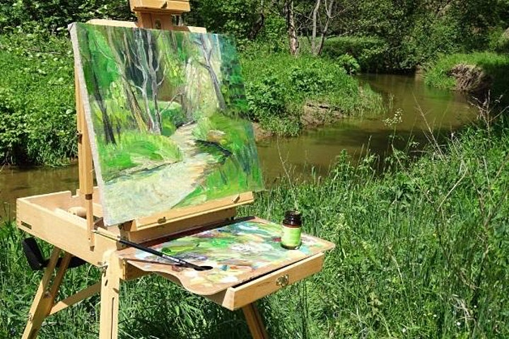 Outdoor painting (plein air ) in Hyde Park with picnic and wine. image