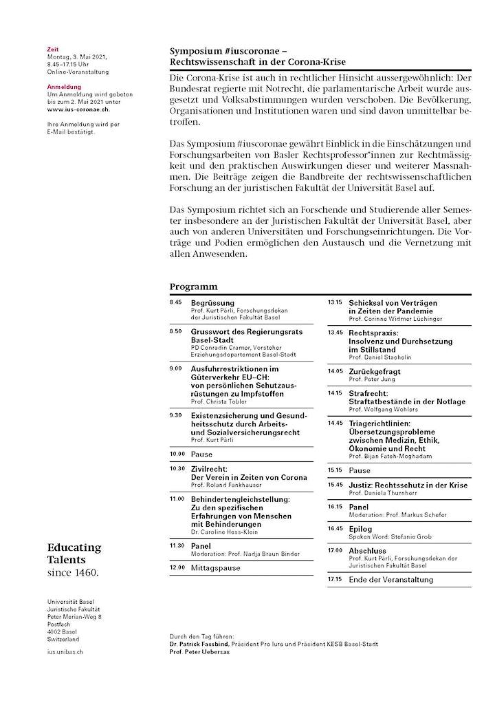 Symposium #iuscoronae - Rechtswissenschaft in der Corona-Krise: Bild