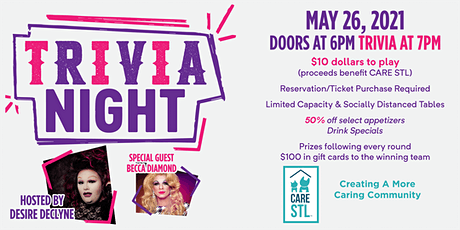 Drag Trivia with Queen Desire Declyne, benefitting CARE STL tickets