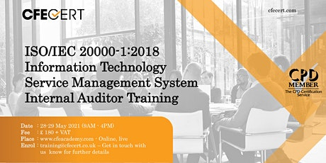 ISO/IEC 20000-1:2018 ITSMS Internal Auditor Training tickets