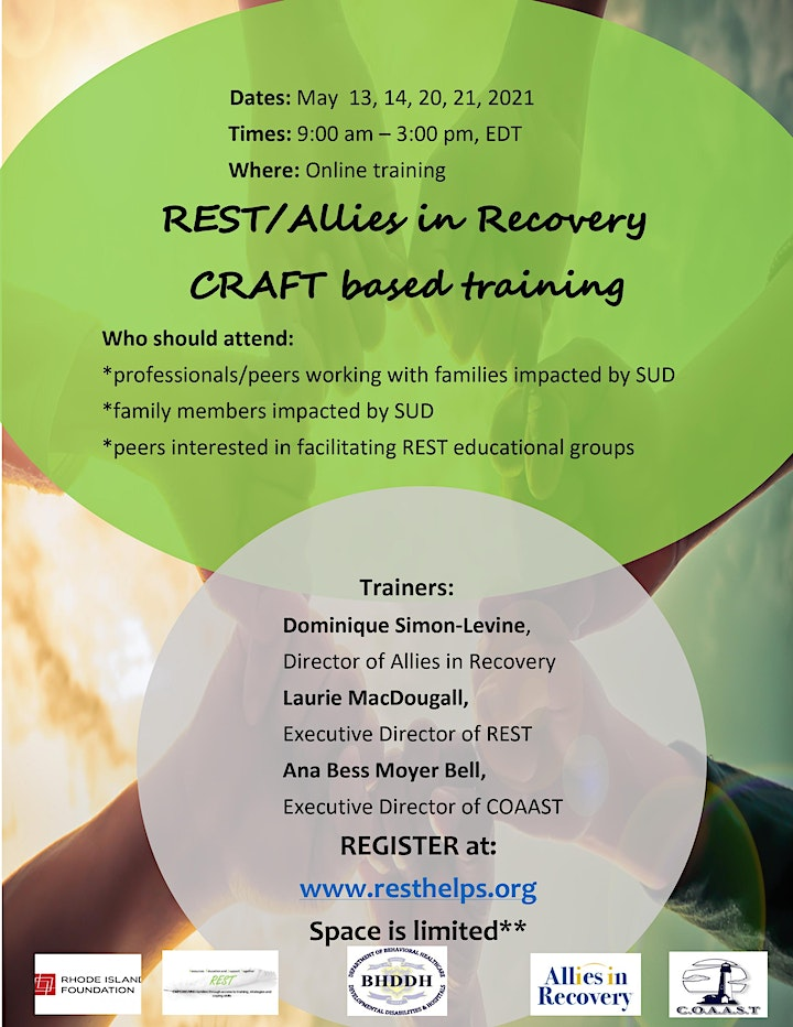 REST/Allies in Recovery CRAFT based training, May 13, 14, 20, & 21 image