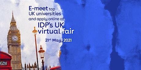 E- meet top UK universities and apply online at IDP's UK virtual fair tickets