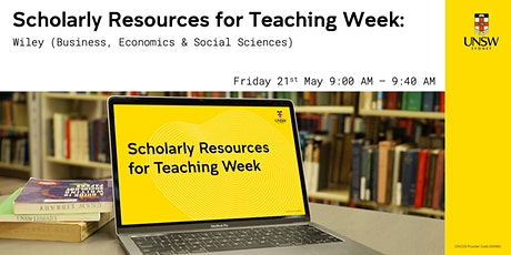 Scholarly Resources for Teaching - Wiley (Business, Econ & Social Sciences) tickets