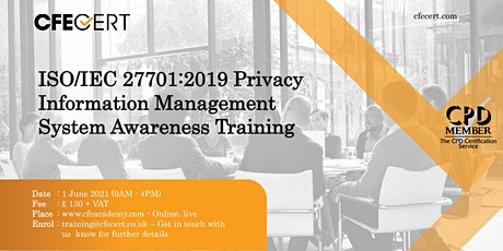 ISO/IEC 27701:2019 PIMS Awareness Training tickets