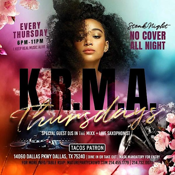 KRMA THURSDAYS - STEAK NIGHT w/DJ PHIL & CHRISTOPHER MITCHELL - LIVE ON SAX image