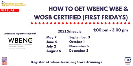How To Get WBENC WBE & WOSB Certified (First Fridays) tickets