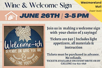 Wine & welcome Sign tickets