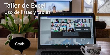 Taller de  listas y tablas con Excel ingressos