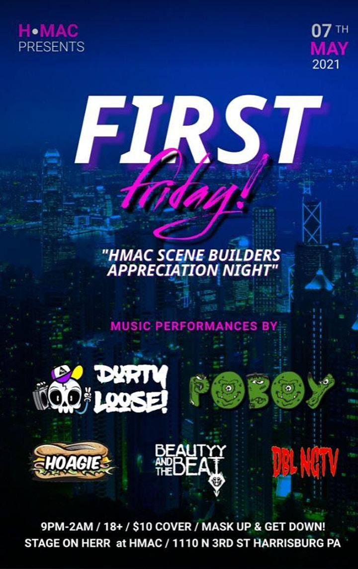 FIRST FRIDAY Returns to The New HMAC - Scene Builders Appreciation show image