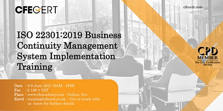 ISO 22301:2019 BCMS Implementation Training tickets