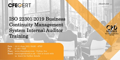 ISO 22301:2019 BCMS Internal Auditor Training tickets