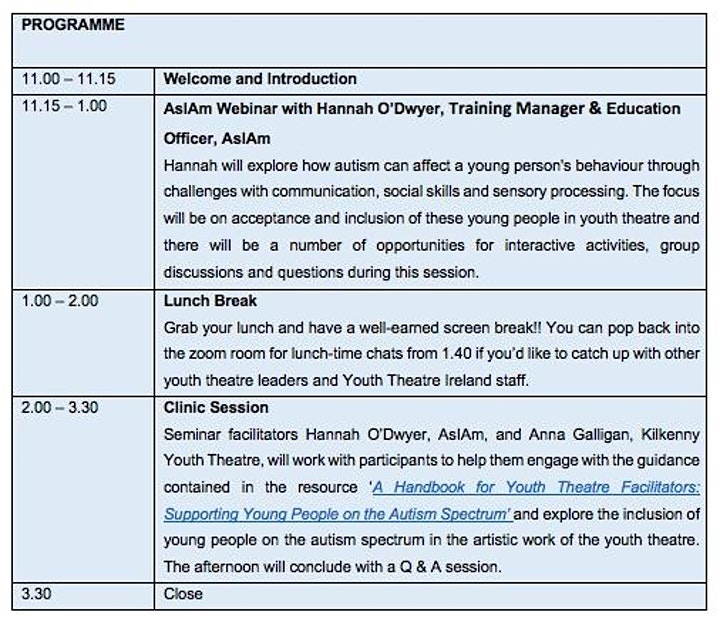 Seminar: Supporting Young People on the Autism Spectrum in Youth Theatre image