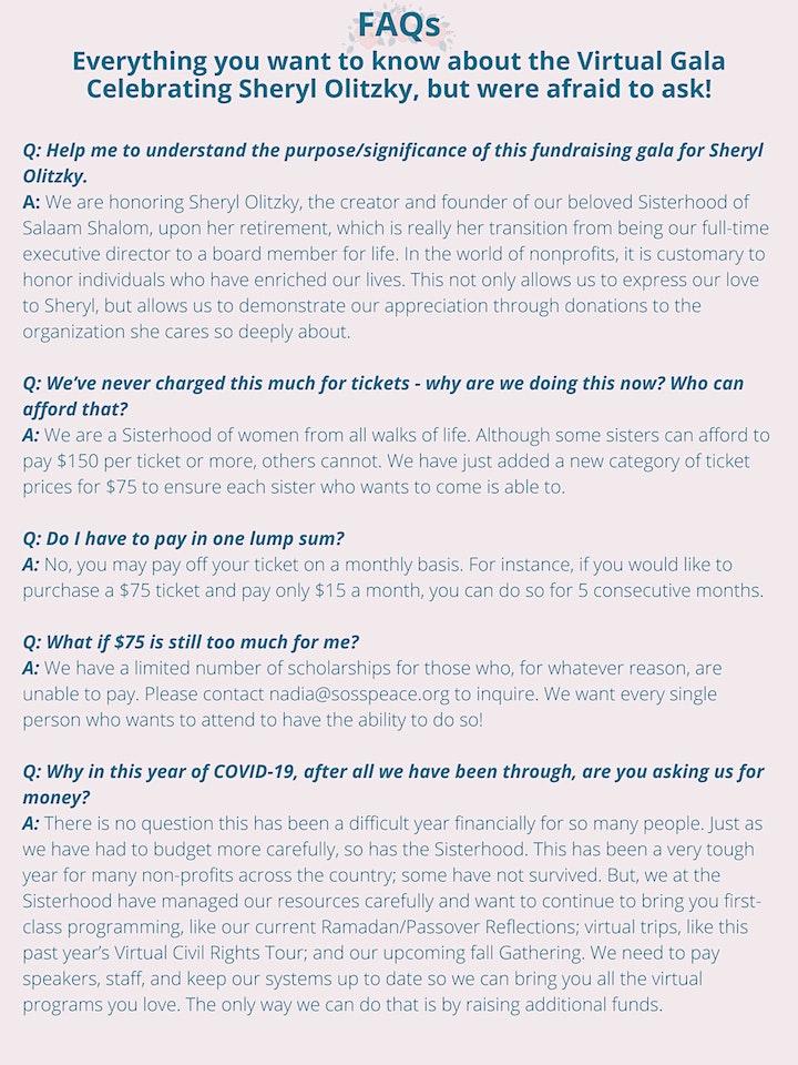 Virtual Benefit Celebrating Sheryl Olitzky image