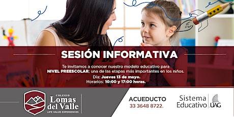 Sesión informativa- Nivel Preescolar boletos