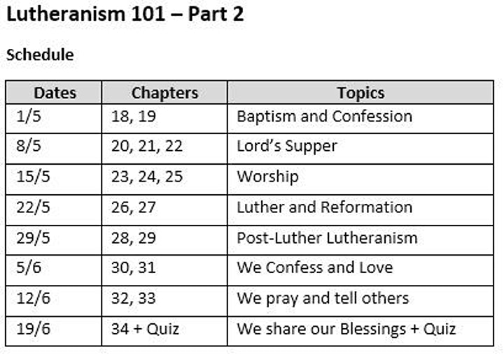 Lutheranism 101 (Part 2) On-site Course image