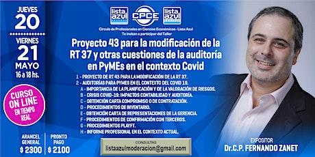 "Curso 2 clases Auditoria Pymes contexto Covid  y Proy 43  modif de RT 37 "" entradas"