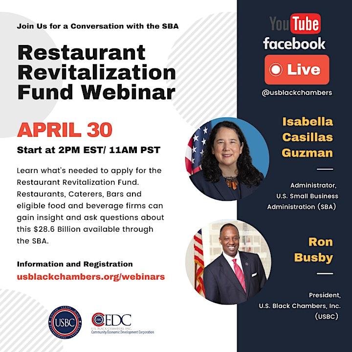 Restaurant Revitalization Fund Webinar with SBA via Youtube & Facebook Live image