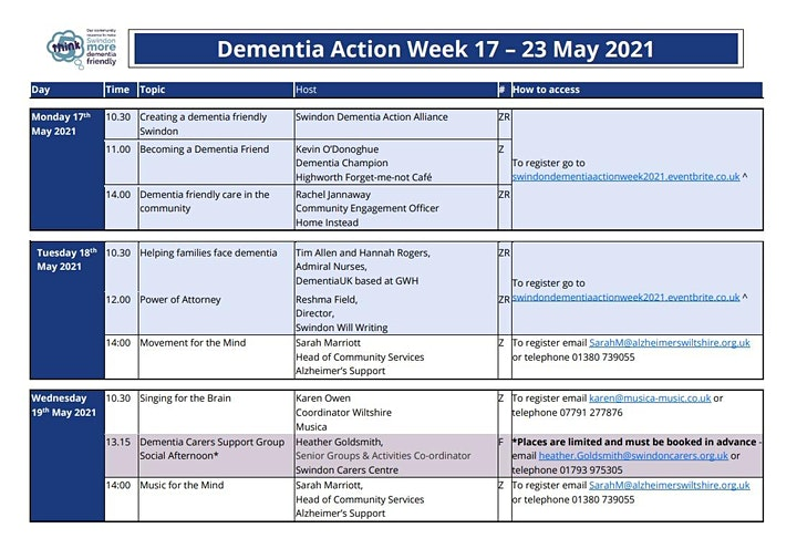 #DAW2021 Swindon Dementia Action Alliance image