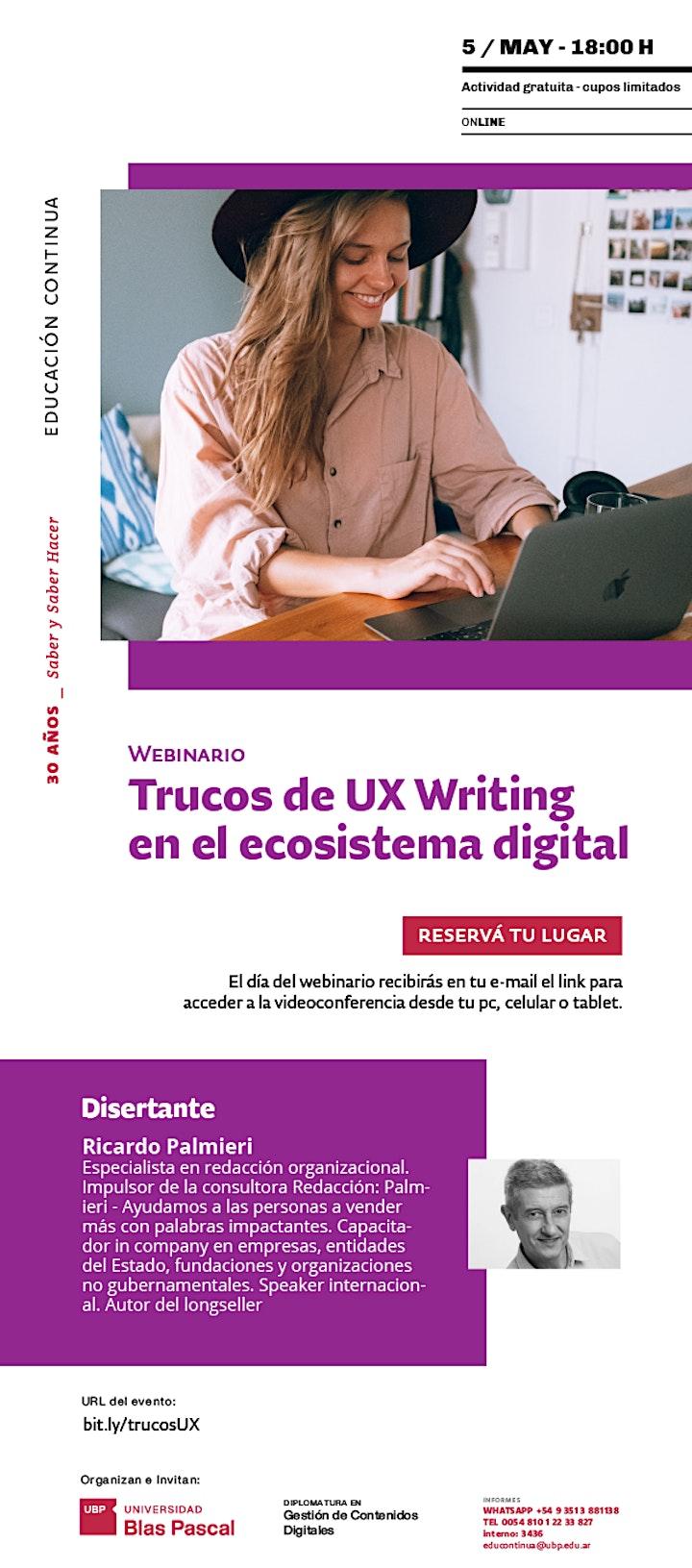 Imagen de Webinario> Trucos de UX  Writing en el  ecosistema digital