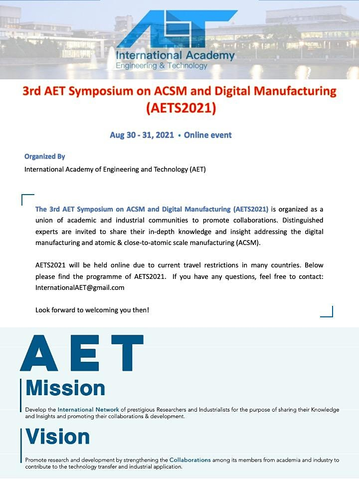 The 3rd AET Symposium on ACSM and Digital Manufacturing  (AETS2021) image