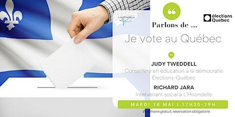 Je vote au Québec! billets