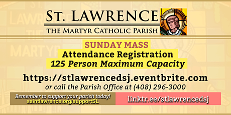 SUNDAY, May 9, 2021 @ 8:00 AM Mass Registration tickets