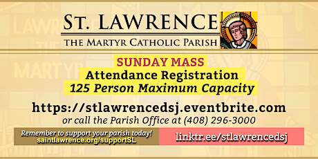 OUTDOORS: SUNDAY, May 9, 2021 @ 9:30  AM Mass Registration tickets
