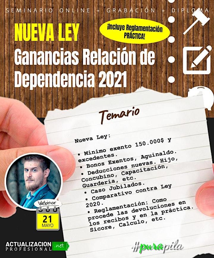 Imagen de NUEVA LEY: Ganancias Relación de Dependencia 2021