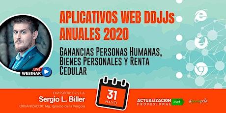 APLICATIVOS WEB DDJJs ANUALES  AFIP 2020 boletos