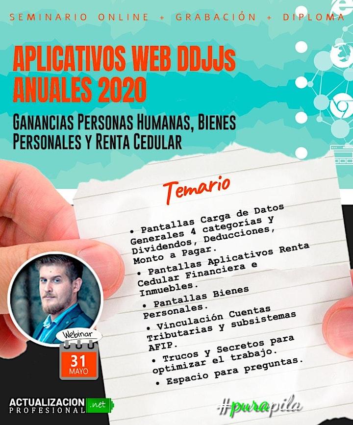 Imagen de APLICATIVOS WEB DDJJs ANUALES  AFIP 2020