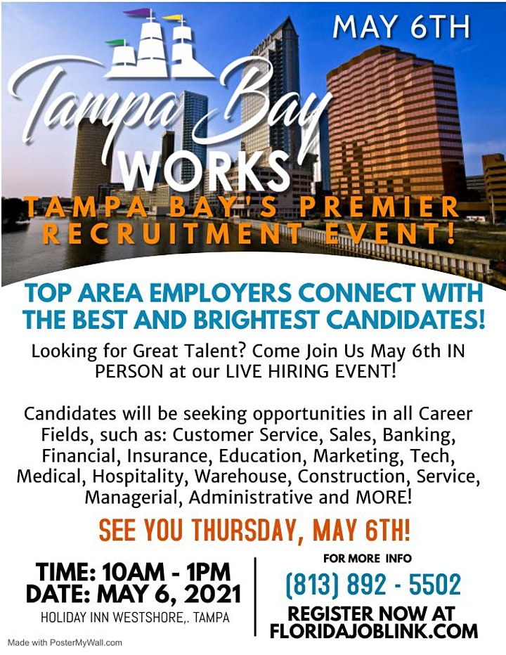 MAY 6TH  TAMPA BAY WORKS 2021 JOB FAIR  - REGISTER NOW image
