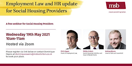 MSB Solicitors - Employment Law and HR update for Social Housing Providers tickets