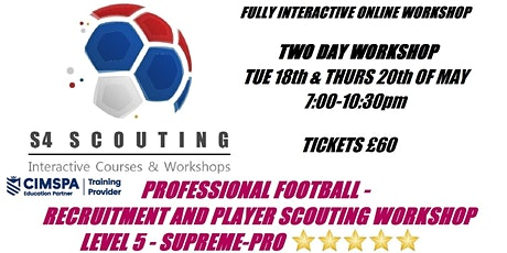 PROFESSIONAL FOOTBALL - PLAYER RECRUITMENT AND SCOUTING WORKSHOP - LEVEL 5 bilhetes