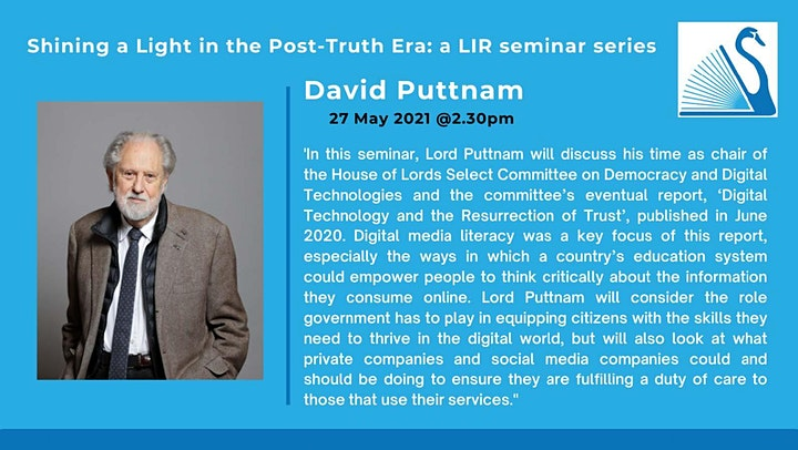 Shining a Light in the Post Truth Era - Session 5 with Lord David Puttnam image