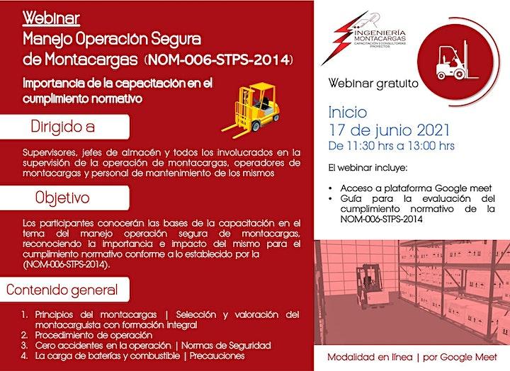 Imagen de Webinar | Manejo Operación Segura de Montacargas NOM-006-STPS-2014