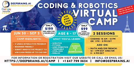 Ultimate Virtual Summer Coding & Robotics Camp & Competition | Jun 30-Sep 3 tickets