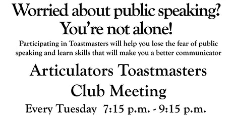 Articulators Toastmasters Club Meeting tickets