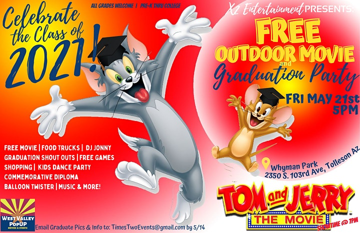 A FREE  Graduation Block Party with Movie in the Park and More!  Fri  5/21 image