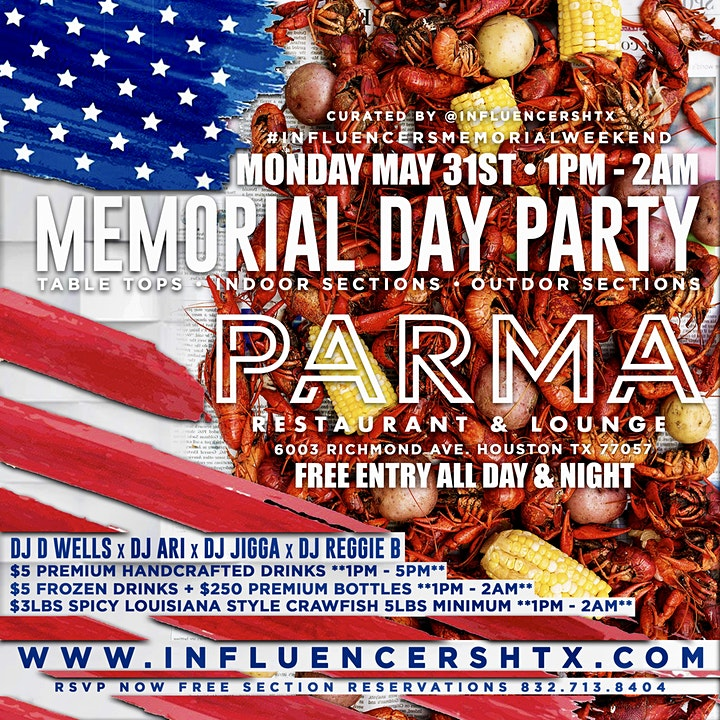 HENNESSY MEMORIAL DAY & NIGHT PARTY AT PARMA HTX - RSVP NOW! FREE ENTRY image