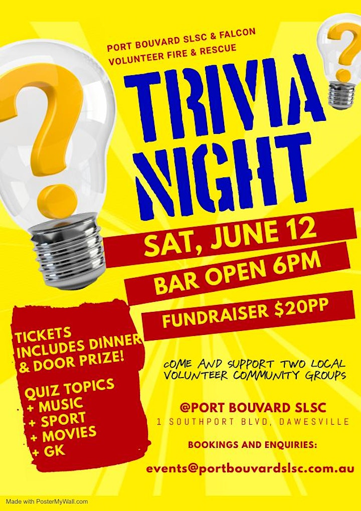 Quiz Night Fundraiser for Port Bouvard SLSC and Falcon VFRS image