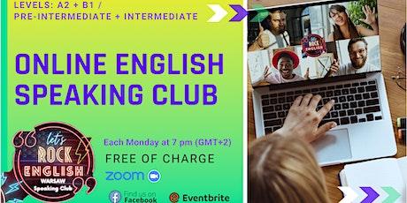 Free English online Speaking Club, Meeting  #A2+B1 tickets