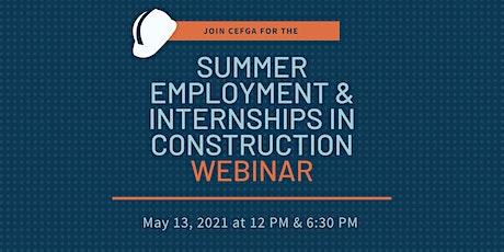Summer Employment & Internships in Construction tickets